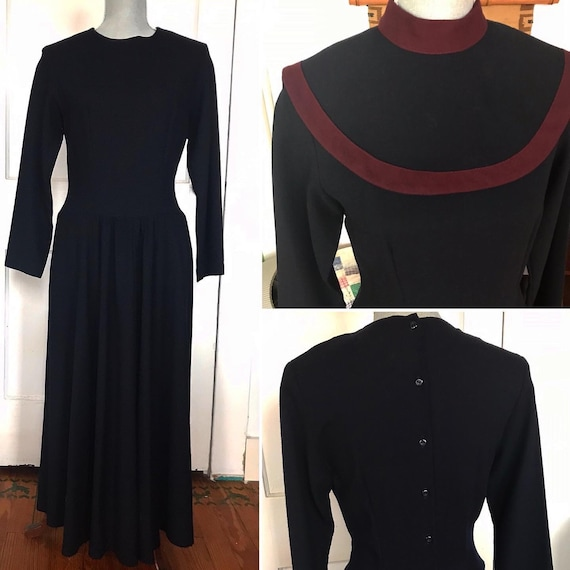 Vintage wool dress 1930s 30s navy blue with burgun