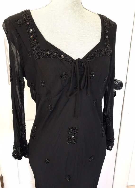 Vintage Dress 90s black beaded rayon witchy goth v