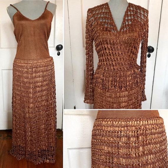 Vintage three piece crocheted skirt and blouse by