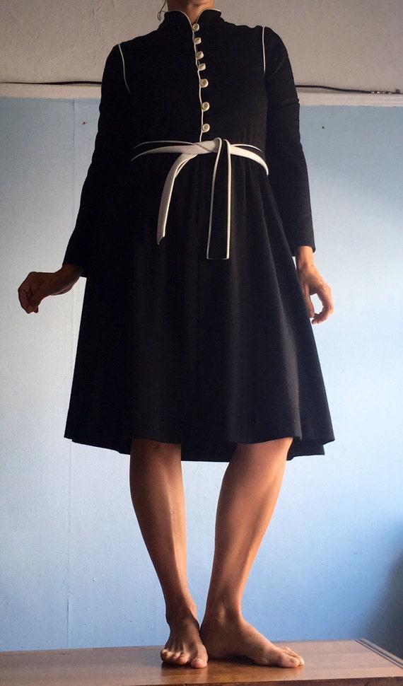 Vintage 60s Dress David Warren Black and White 60s