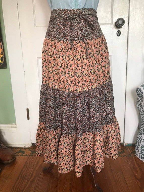 Vintage skirt wrap skirt floral high waist by Adin