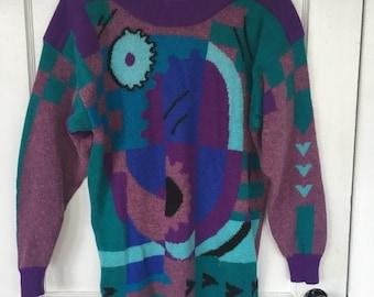 Vintage Sweater 90s Joye +Fun muti-color oversized vibrant wool and angora sweater