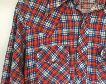 Vintage shirt flannel Fruit of the Loom Plaid pearl snap sanforized flannel shirt mens womens Cotton western wear