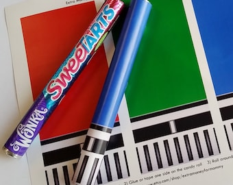 Star Wars Red, Green and Blue Lightsaber Candy - Printable Artwork