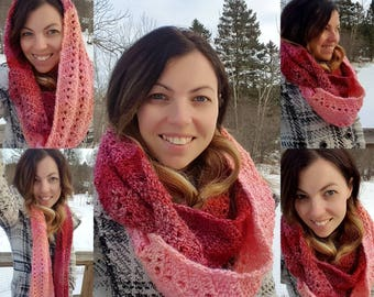 Crochet Chunky Raspberry Peach Kiss Infinity Wave Scarf - Crochet Wrap - Crochet Circle Scarf - Crochet Cowl -Neck Warmer