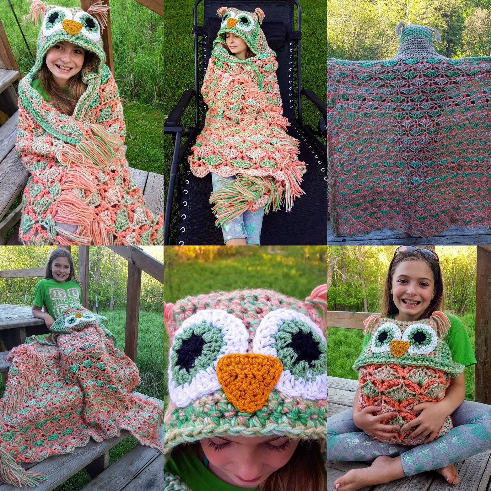 Free Shipping Childteen Crochet Hooded Owl Blanket Owl Etsy