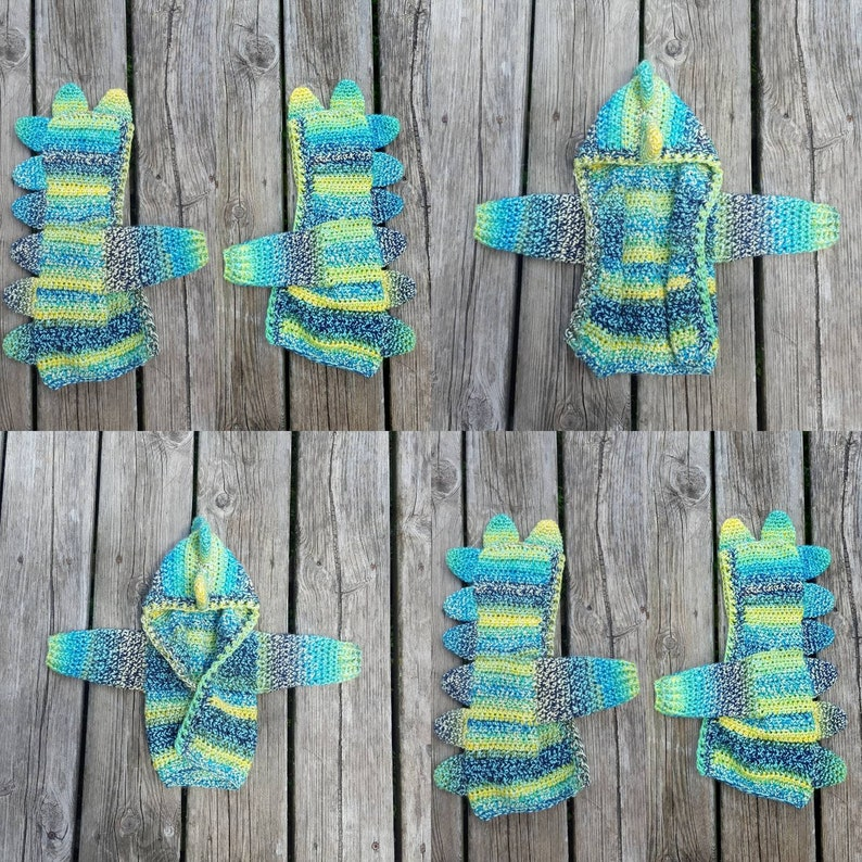 Crochet Unisex Finch Feather Dinosaur Sweater In Multiple Colors Available Available in sizes Newborn Adult Small
