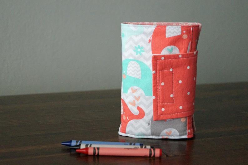 Elephants Hedgehogs Crayon Wallet Gift Idea Under 20 Crayon Holder READY TO SHIP Crayon Roll Birds