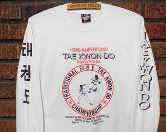 Vintage 1989 American Tae Kwon Do Invitational Long Sleeve T-Shirt Men's S