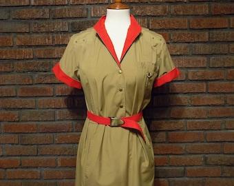 Vintage 80s Jordache Military-Style Dress with Mandarin Collar Women's M / 8 - 10