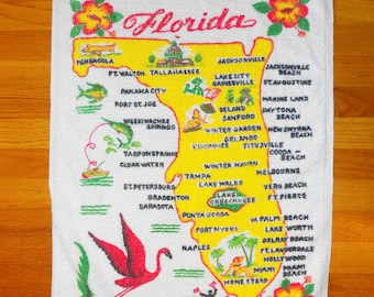 "Vintage Miami Florida Souvenir Terrycloth Dish Towel 36.5"" x 21"""