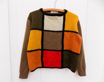 Vintage 60s Jack Winter Color Block Cropped Boxy Cut Wool Sweater Women's M