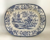 Antique blue transfer ware Blue Willow Platter
