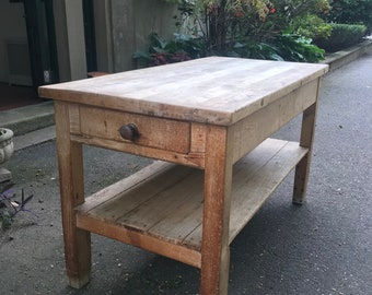 Vintage / Antique French Butcher Block / Kitchen Island