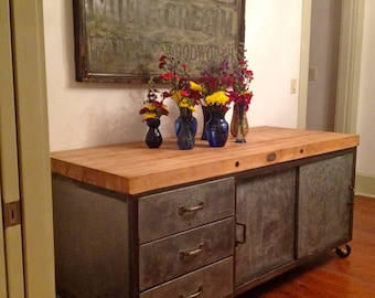 Industrial kitchen island - Galvanized with butcher block top. RESERVED