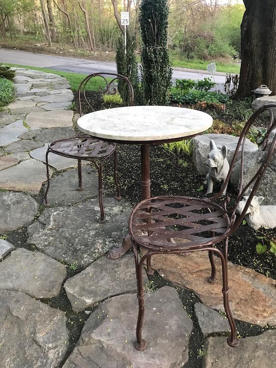 Vintage French Bistro Table Set Etsy