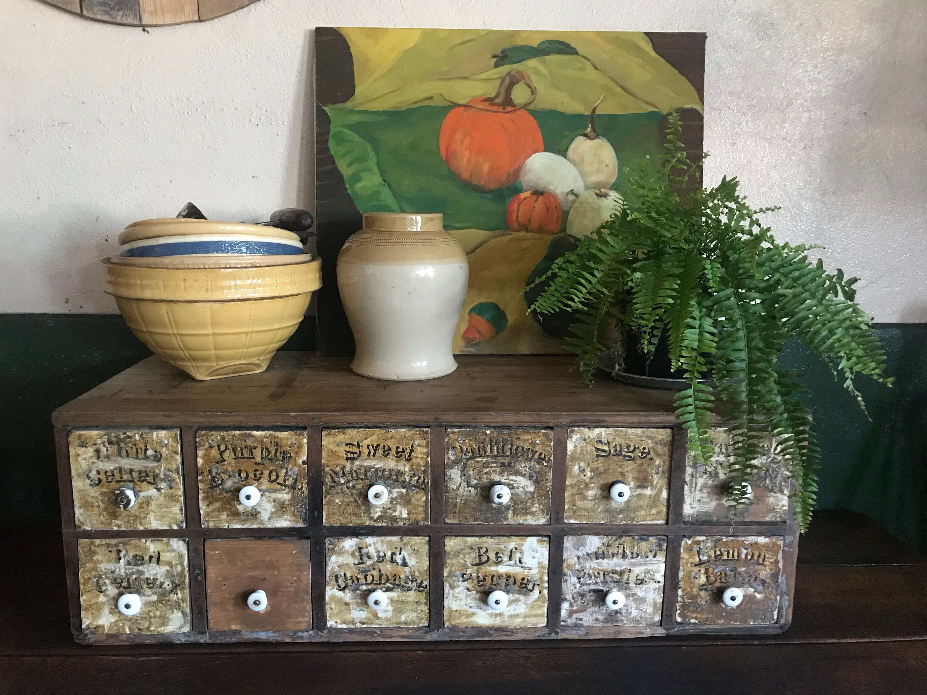 Vintage Spice File Cabinet Coffee Table Side Table Etsy