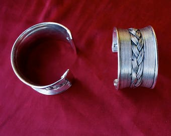 Woven Cuffs Mixed Metal & Silver Cuff Bracelet Statement Bracelet Set of Cuff Bracelets Fashion Bracelet Large Cuffs Gift For Her