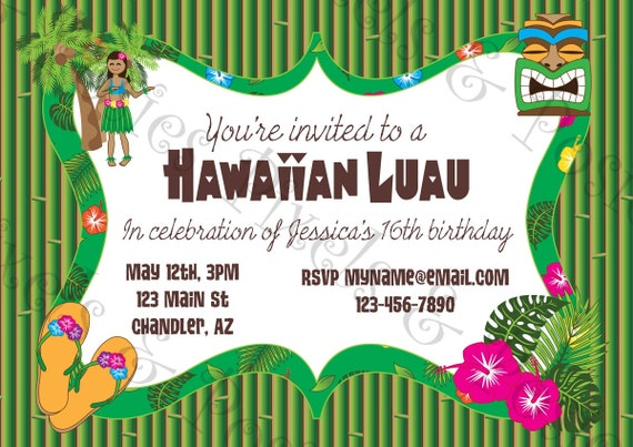 graphic relating to Hawaiian Theme Party Invitations Printable titled Hawaiian Luau Celebration Custom made Invites - Printable Social gathering Invitation - Pool Social gathering - Luau - Customized Printable Invitation - Print your private