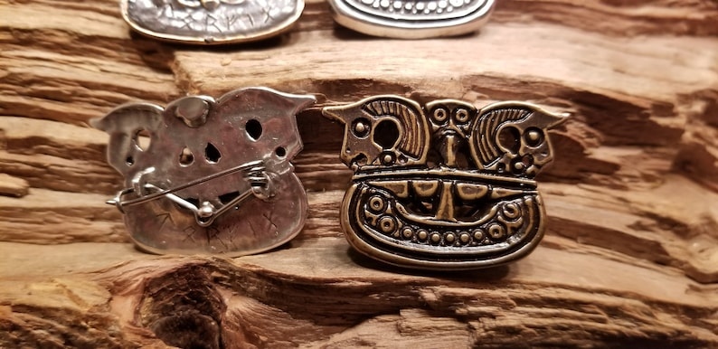Viking Ship Pendant or pin cast in 925 Silver or Bronze.