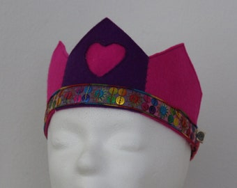 Wool Felt Crown in Purple and Pink with Heart - Waldorf Style