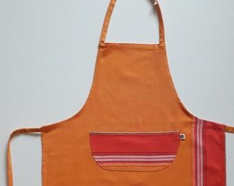 Traditional Kikoy Kids Apron in Orange and Red, Child Medium Apron