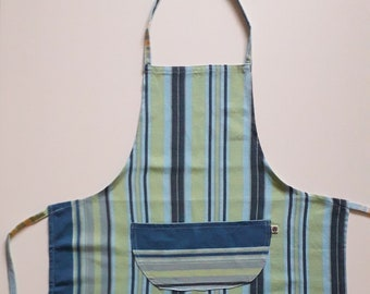 Striped Kikoy Apron in Blue, Green and Grey tones, Child/Teen Large Size Apron