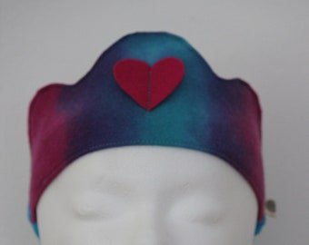 Hand Dyed Wool Felt Crown with Raspberry Pink Heart, Reversible Waldorf Birthday Crown