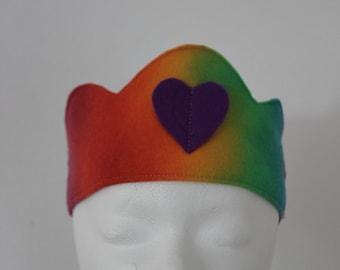 Rainbow Felt Crown with Blue Butterfly, Waldorf Birthday Crown