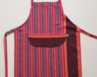Kids Apron with Pocket, Small - Pink and Maroon Striped Kikoy Fabric Child Apron