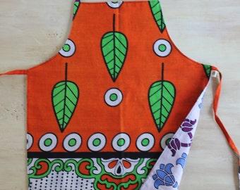 Reversible Child Apron, African Khanga - Orange Leaves and Blue Purple Flowers, Small Kids Apron