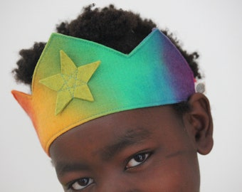 Rainbow Felt Crown with Star, Waldorf Birthday Crown