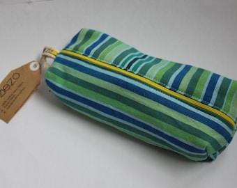 Pencil bag, Zippered Pencil Pouch, Green and Blue Stripes Kikoy Pencil Bag, Pen Bag