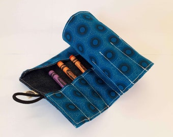 Aqua Blue Shweshwe Fabric Crayon Roll, Sun Print Crayon Organizer, Take-along Crayons