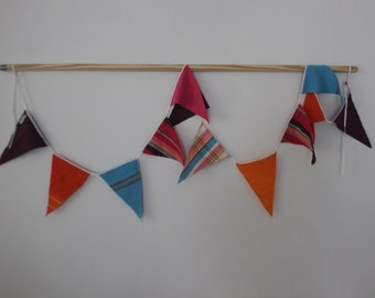 Kikoy Flag Bunting, Party Flags, Fabric Garland, Blue, Pink, Red, Orange Kikoy Party Bunting