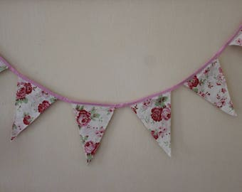 Fabric Flag Bunting, Roses Party Flags, Fabric Garland