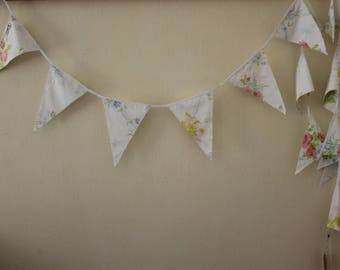 Vintage Fabric Flag Bunting, Pastel Flowers Party Flags, Fabric Garland
