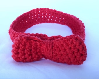 Handmade Crochet Headband - Red