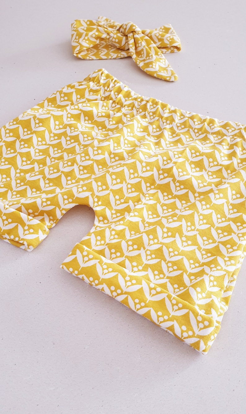 12 to 18 months Yellow Wattle Floral Native Pattern Pattern Short