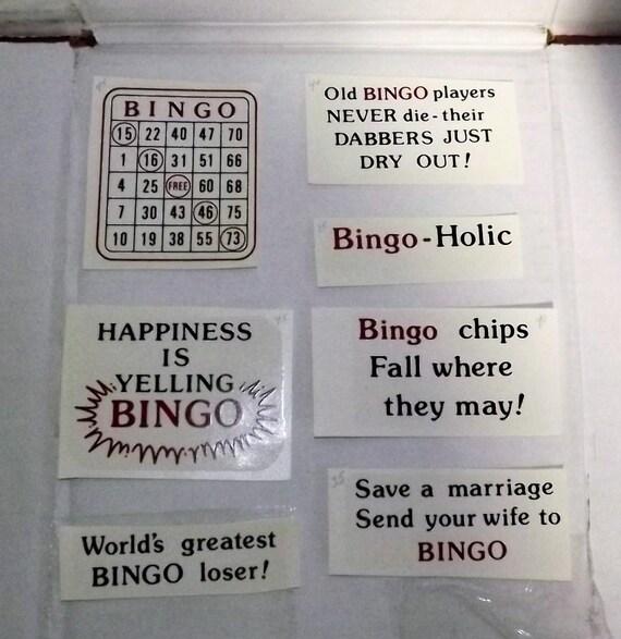 Fun Vintage Water Slide Decals Bingo Set Of Different Bingo Funny Sayings Jokes And A Bingo Card 7 Decals Total