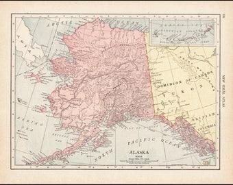 Map Of Alaska And Washington State.Small Antique Alaska Map Of Alaska State Map Vintage Color Etsy