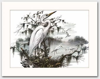 "Great White Heron Art w/Mat (Bird Artwork, Coastal Wall Decor) ""Egret Colony"" Vintage Matted Print"