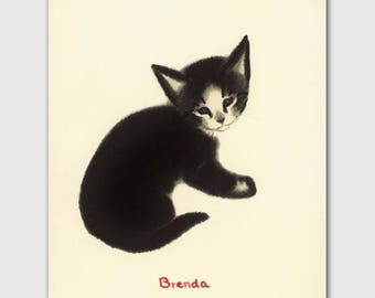 "Cat Artwork, Cat Print (Cat Home Decor, Black Cat Gifts) --- ""Brenda"""