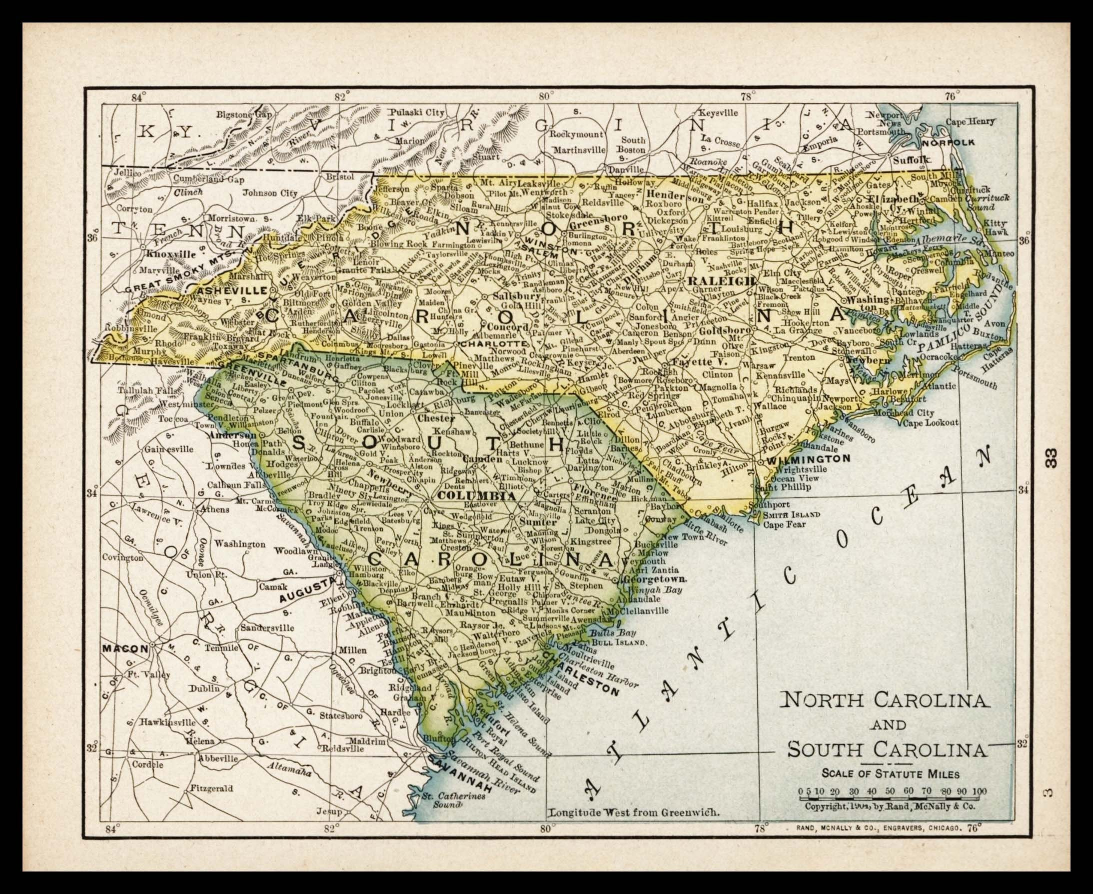 State South Carolina Map.Small Antique North Carolina Map South Carolina Map State Etsy