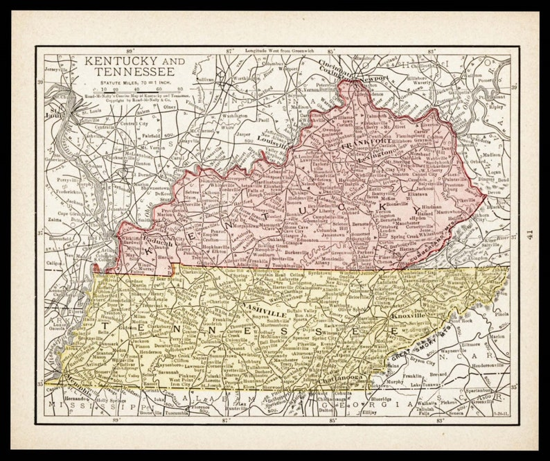 Small Antique Kentucky Map Tennessee Map 1900s Map Wall Etsy