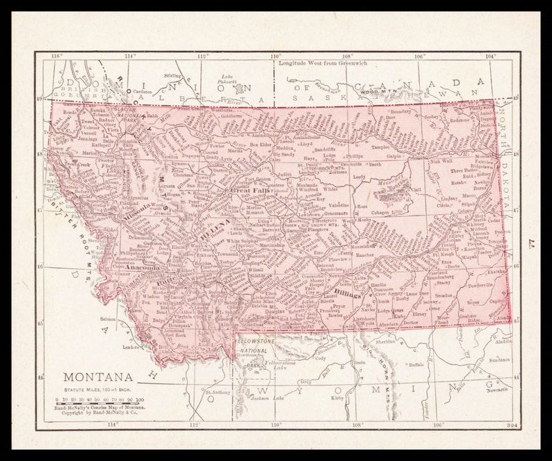 Small Antique Montana Map Of Montana State Map Atlas Wall Etsy