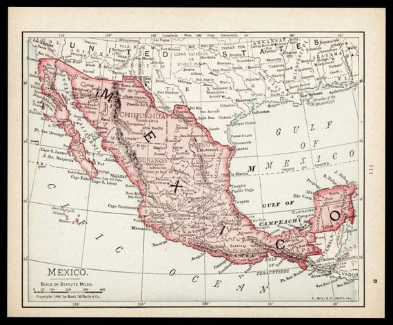 small map of mexico map old color map antique wall decor