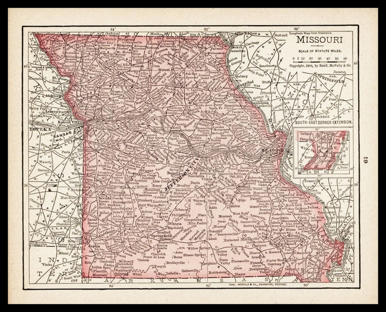 Small Antique Missouri Map of Missouri State Map Wall Decor   Etsy