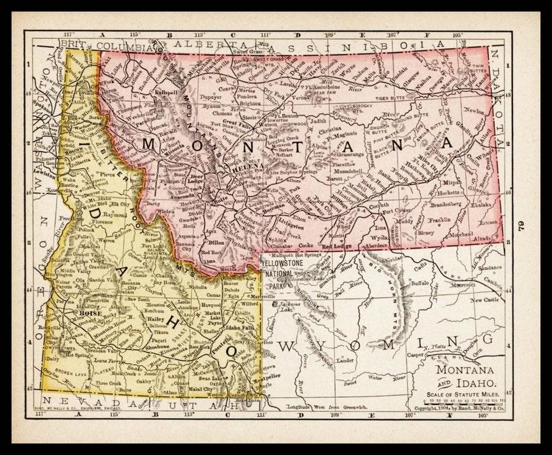 Small Antique Idaho Map of Montana Map Vintage Wall Decor | Etsy