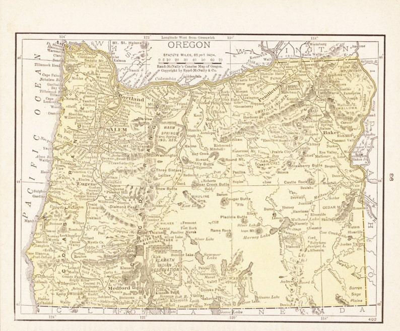 Vintage Oregon Map.Small Antique Oregon Map Of Oregon State Map Vintage Atlas Etsy
